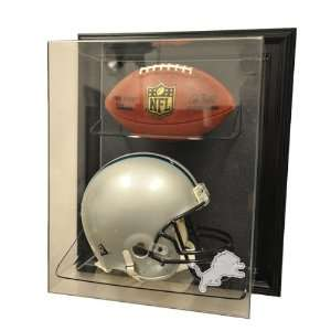 Detroit Lions Full Size Helmet and Football Display Case