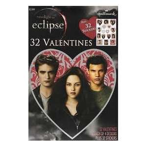 Twilight Saga Eclipse 32 pack Valentines Cards and 32 Stickers Bella