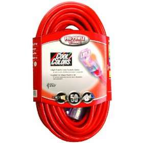12/3 Wire Gauge Neon Outdoor Extension Cord with Lighted Ends, Red