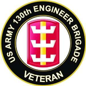 US Army Veteran 130th Engineer Brigade Decal Sticker 3.8