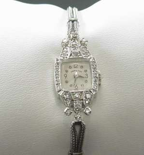 STUNNING ANTIQUE ART DECO 14K WHITE GOLD HAMILTON DIAMOND LADIES WATCH