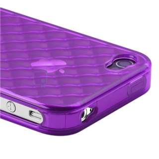 Clear Purple Diamond TPU Rubber Case Cover+PRIVACY Protector for