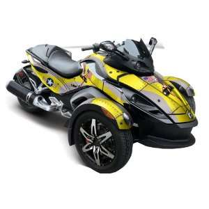 Can Am BRP Spyder Graphic Decal Wrap Kit   Tbomber Yellow Automotive