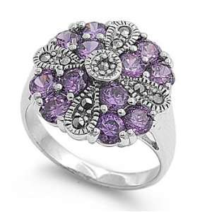 Sterling Silver Antique Inspired Marcasite Ring for Women