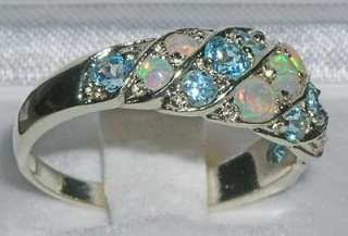 ENGLISH SOLID WHITE GOLD FIERY AAA OPAL BLUE TOPAZ RING