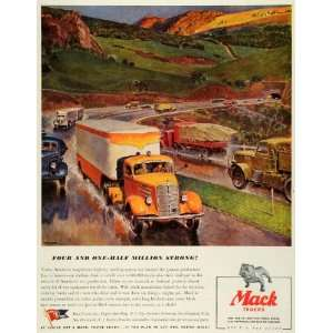 1943 Ad Mack Truck Highways Trailers Vintage Motor Vehicle
