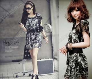 Cute Womens Korea Sexy Lace Chiffon Mini Dress With Belt Fashinable