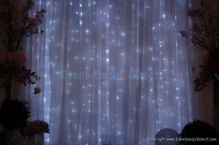 8ft Tall Heavy Duty LED Curtain with Cool White Lights for Weddings