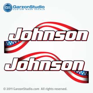 Johnson Outboard ETEC American flag decal set 14 B