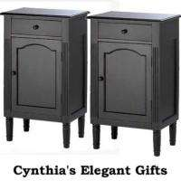 Black Wood Antiqued Cabinet End/Side Table Nightstand