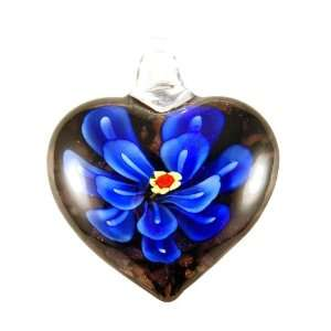 Murano Glass Blue Flower Heart Pendant Bleek2Sheek Girls