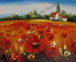 Poppies Field   Original Flower Canvas Art Oil Painting