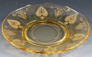 Fostoria Trojan Topaz Yellow Etched Elegant Saucer Depression Glass