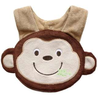 bibs, cute cartoon 3d animals soft Saliva towel ,button design