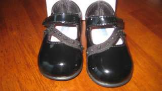 Infant Girl Size 3 Black Patent Dress Shoes BABY DEER