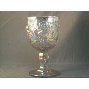 Tall Lilac Carnival Glass Raised Rose Water Goblet Hand