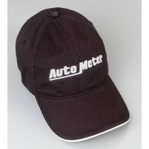 Cap, Brushed Cotton, White Auto Meter Logo, Black, Slide Buckle, Each