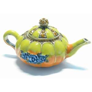 Green Teapot Crystals Bejeweled Trinket Box