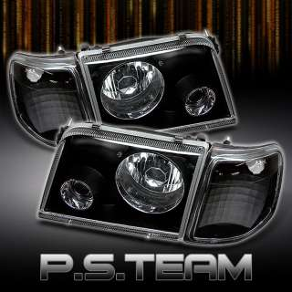 93 97 FORD RANGER PICKUP TRUCK BLACK PROJECTOR HEADLIGHTS+BLACK CORNER
