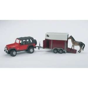 Jeep Wrangler Unlimited w/ Trailer & Horse 1 16 Bruder Toys & Games