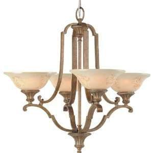 Light Chandelier, Gilded Imperial Silver with Cream Sandblasted Glass