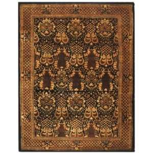 Safavieh Imperial Collection IP110A Black and Gold Wool Oval Area Rug