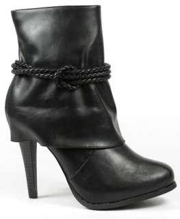 Black Knotted Ankle Bootie Boot 8.5 us Anne Michelle