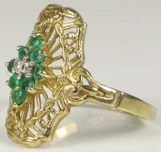 Hi End Estate 10k Yellow Gold Genuine Emerald & Diamond Ring Size 6
