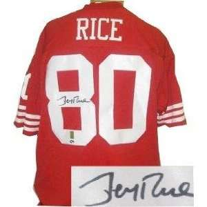 Jerry Rice Signed Jersey   Red Prostyle slight bleed