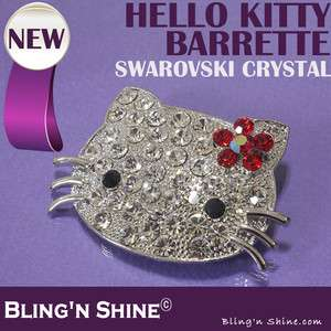 Hello Kitty Large Hair Barrette Swarovski Crystal Hair Clip Red Bow