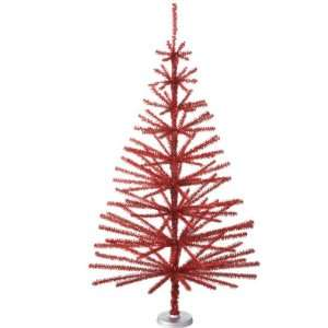 Scanty Whimsical Red Tinsel Unlit Christmas Tree