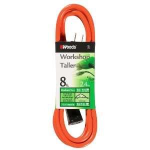 Woods 720 16/2 Vinyl SJTW Extension Cord, Orange, 8 Foot