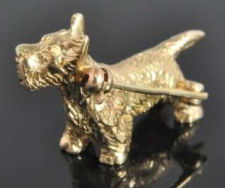 Vintage 14K Yellow Gold Scottish Terrier Puppy Dog Heavy 3D Pin Brooch