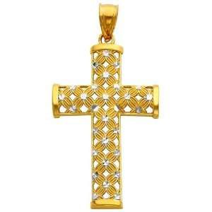 14K Two Tone Gold Religious Cross Charm Pendant GoldenMine Jewelry
