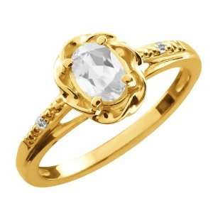 0.56 Ct Oval White Topaz 14K Yellow Gold Ring Jewelry