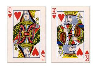 King and Queen of Hearts Playing Card Fridge Magnet Set