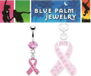 Pink CZ Gem Breast Cancer Dangle Belly Ring Navel B415