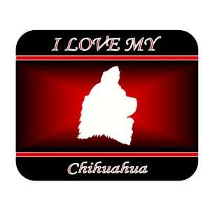 I Love My Chihuahua Dog Mouse Pad   Red Design