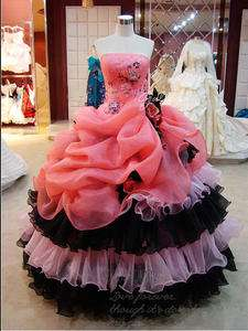 2012 Pink Strapless Ball Gown Prom Dress Floral Quinceanera Dress Or