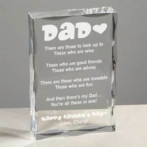 Dad Fathers day Poetry Keepsake Block personalized free