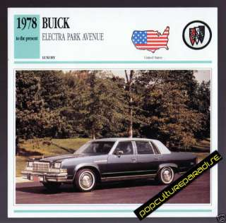 1978 1991 BUICK ELECTRA PARK AVENUE Car PICTURE CARD