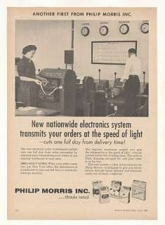 1958 Philip Morris Cigarette Electronic Order System Ad
