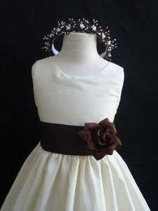 New IVORY BROWN Christmas wedding flower girl dress