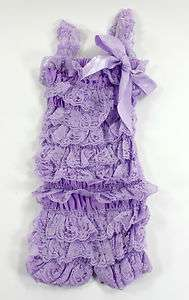 Lace Petti Romper with Straps Lavender Light Purple Baby Toddler Girls