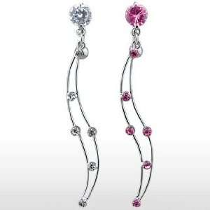 Fancy Belly Ring with Pink Cubic Zirconia and Titanium Shaft/Rhodium