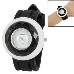 Como Luminous Hour Hand Black Silicone Band Round Dial