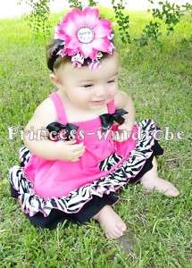 Baby Hot Pink Zebra Spaghetti Top & Pantie Bloomer 0 4Y