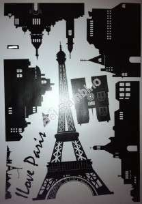 LOVE PARIS TOWER CITY   Large Removable Wall Stickers Decal Room