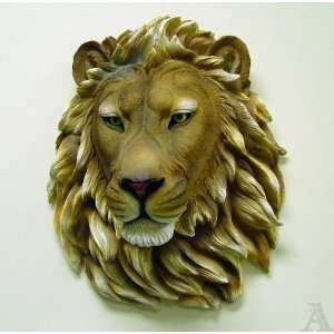 Lion Head Indoor Outdoor Art Sculpture Wall Mount