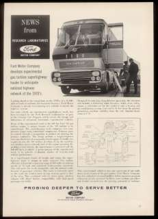 1964 Ford Gas Turbine semi truck photo & diagram vintage print ad